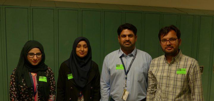 Visitors Afrah Qureshi, Sani E. Zehra, Muneer Lashari, and Muhammed Tufail.