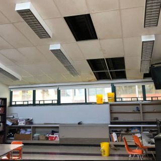 Leaky roof, missing tiles plague English classroom